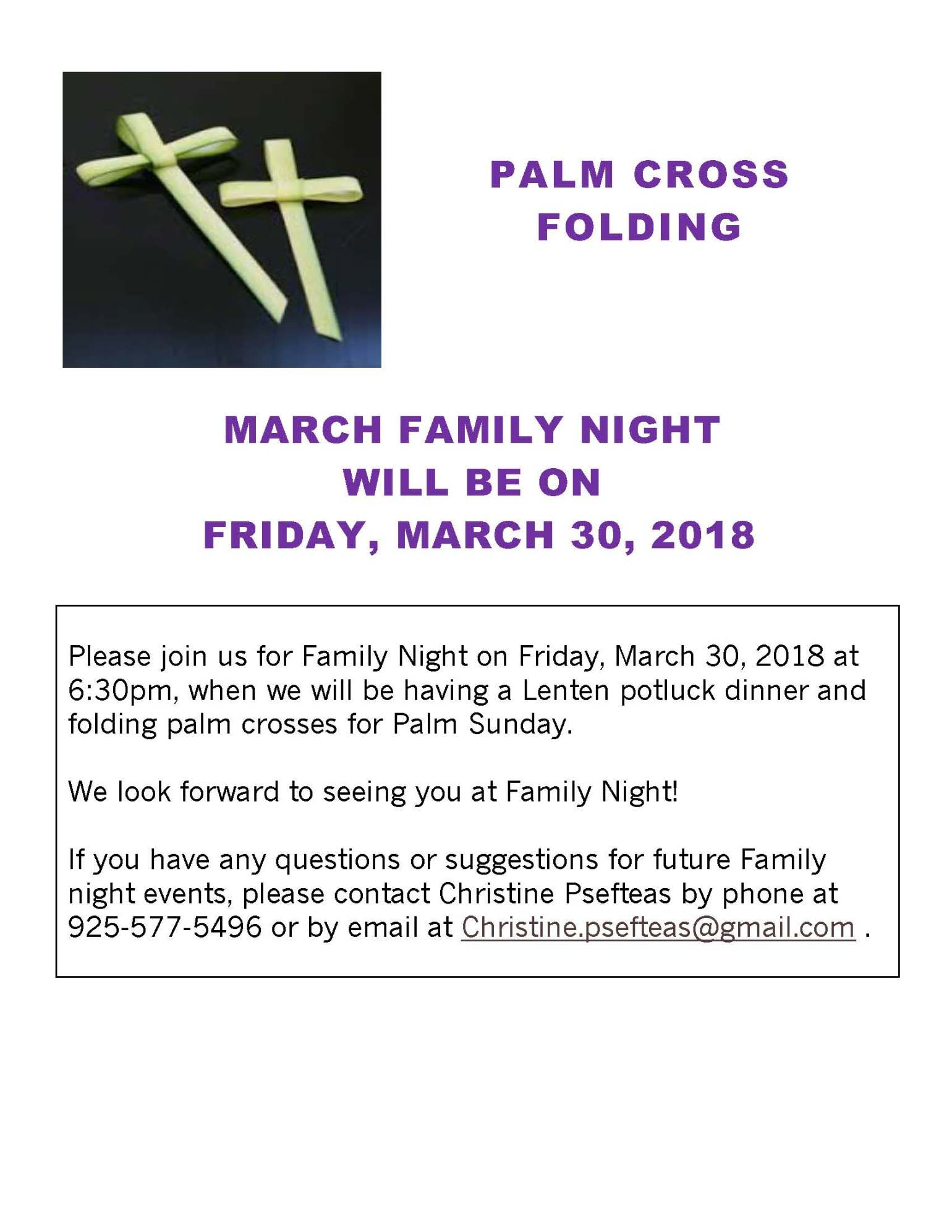 2018 Palm Folding Family Night Flyer